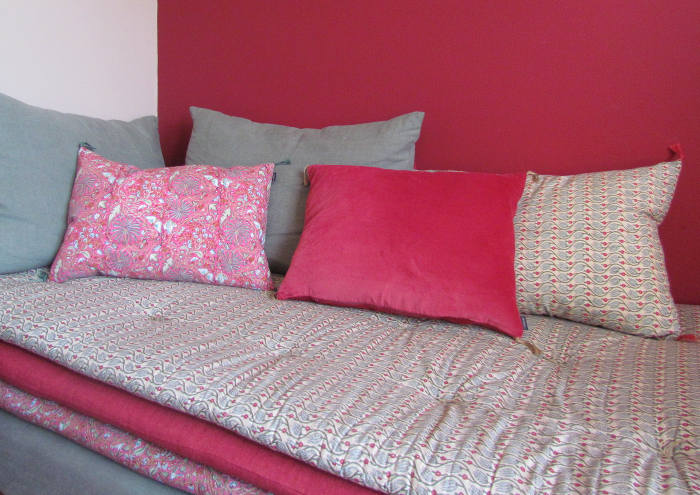 Pink and beige cushions