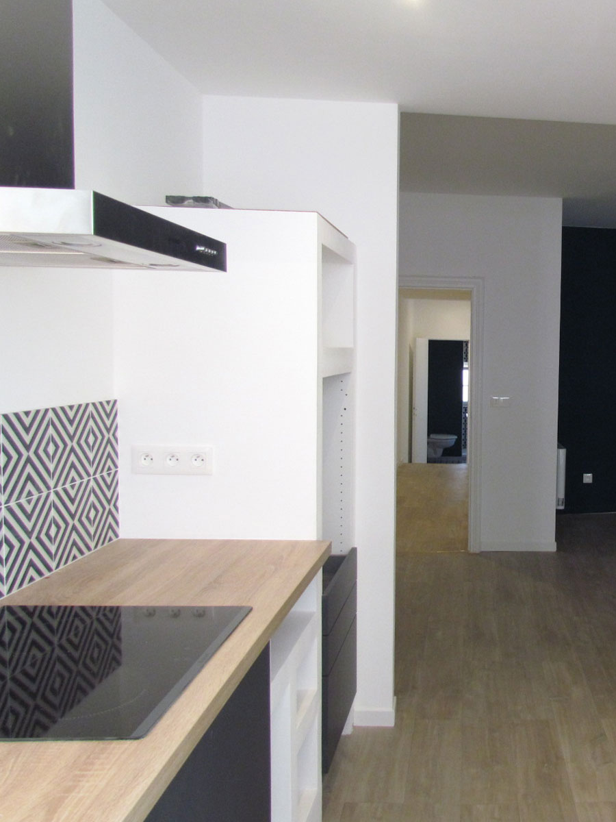 the kitchen and view of the corridor