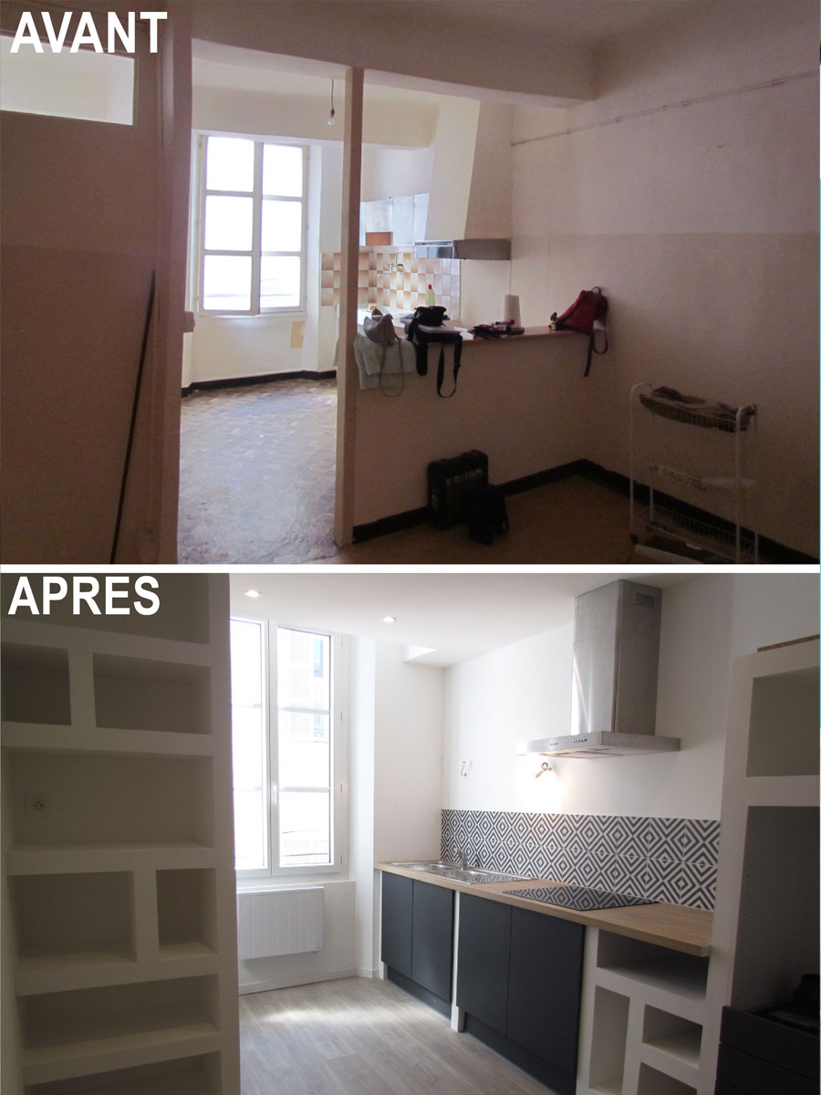 the kitchen before and after the works