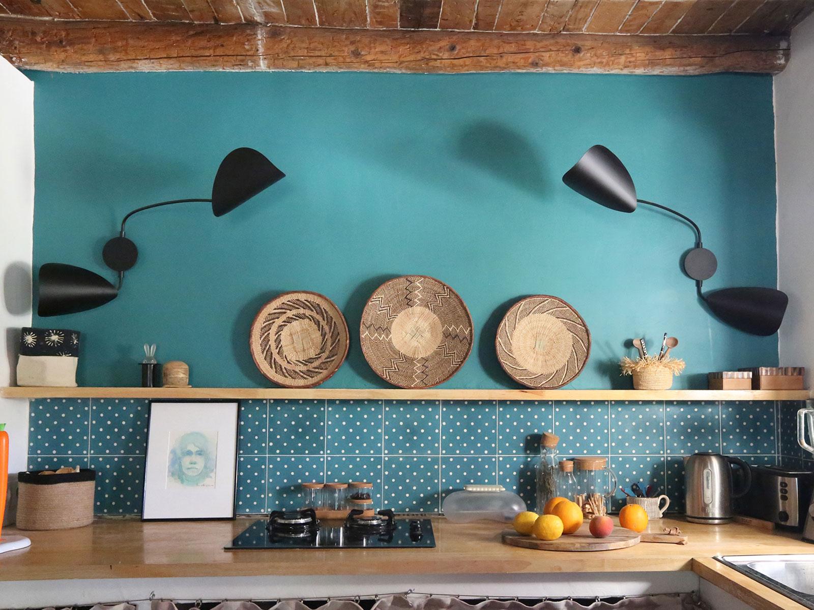 cuisine mur vert émeraude