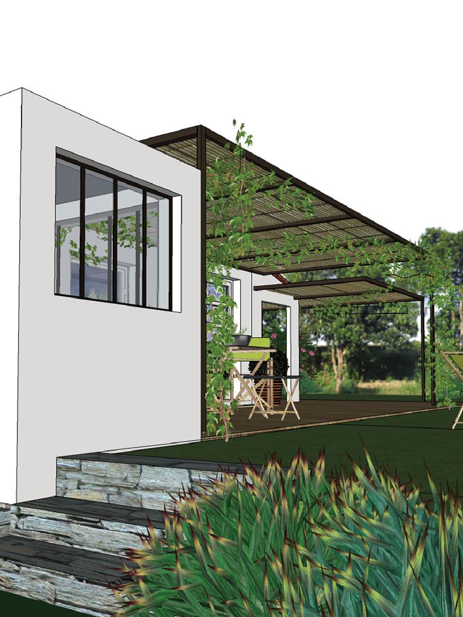 Intégration parfaite d'un bâtiment à toit plat