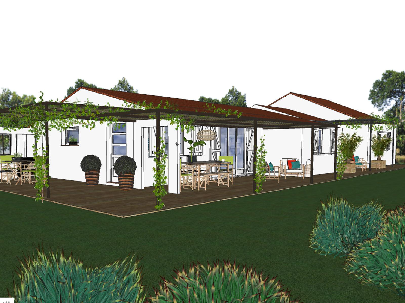 conception d'une extension à toit plat & aménagements extérieurs à Aix-en-Provence
