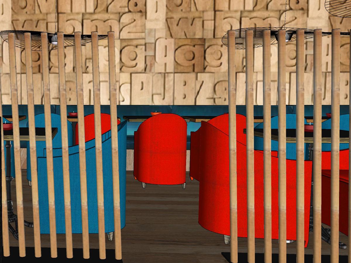 salle de restaurant en 3D