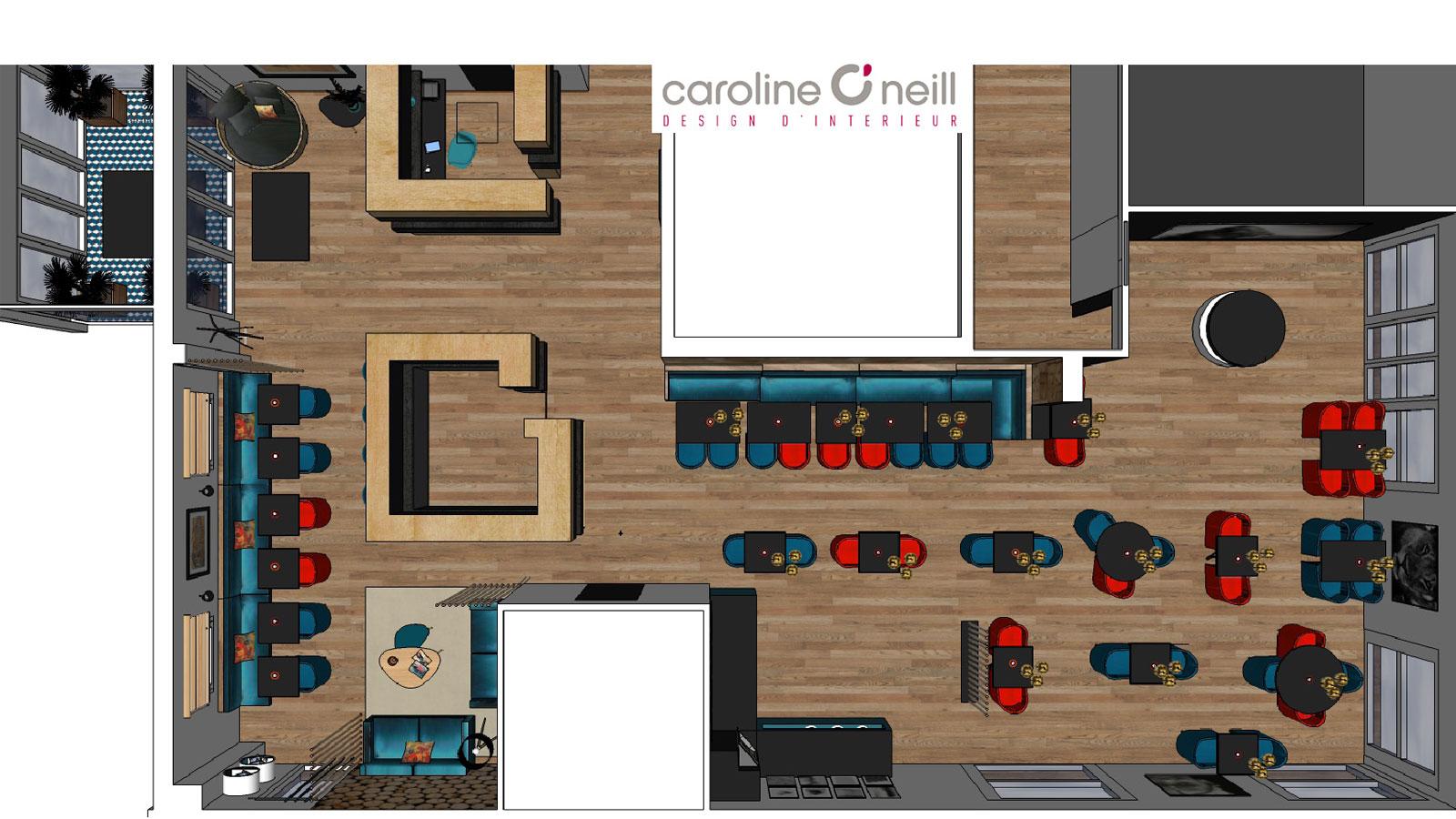 vue de dessus en 3D d'un hôtel restaurant